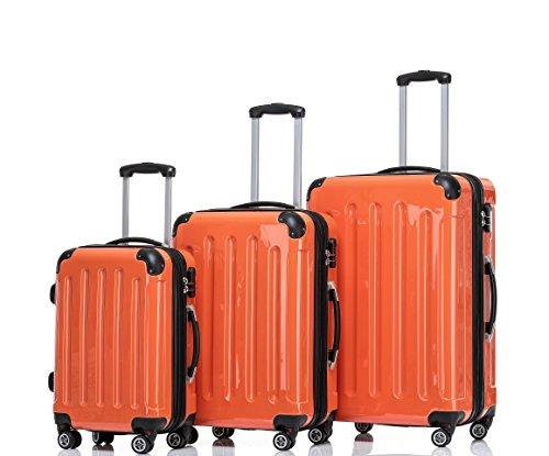 Prime BEIBYE 3 tlg. Reisekofferset Kofferset Trolley Trolleys Koffer Zwillingsrollen Hartschale Orangen