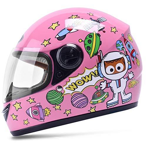 Casco per bambini Casco integrale per moto elettrico Ragazzo Bambino femmina Bambino Inverno Cartoon Cute Hard Hat (Colore : Pink)