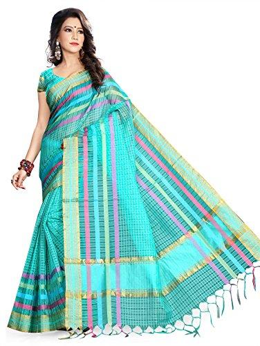 Asavari Organza Saree (Cha16-Dos-Chk-Sgr_Turquoise Green)