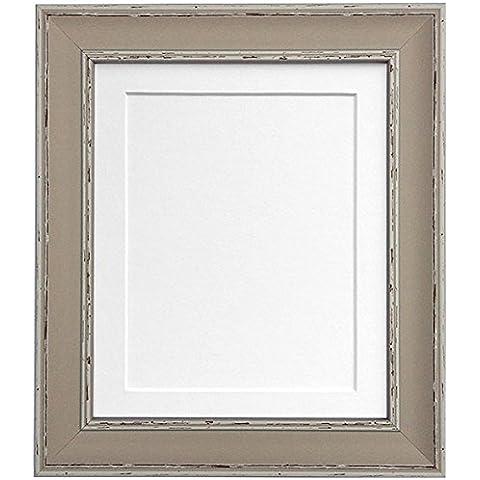 Frames By Post AP-4620 marrón apenado arcilla marco de fotos, blanco, 30 x 20 para foto tamaño A2 (cristal de plástico)