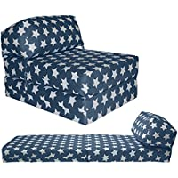 Gilda JAZZ CHAIRBED - KIDS PRINTS Deluxe Single Chair z Bed Futon (Graphite Stars)
