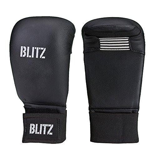 Blitz Elite Box-Handschuhe ohne Daumen-schwarz blau rot weiß-für Karate/Taekwondo, PU