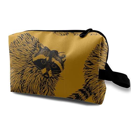 Senf Gold Raccoons_2587 Tragbare Reise Make-up Kosmetiktaschen Organizer Multifunktions Fall Taschen für Frauen -
