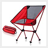 BNN Camping Klappstuhl Outdoor Ultra Light Portable Aluminium Angeln Stuhl,Red-Black-Net