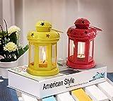 Teelichthalter in einer Metall-Laterne zum Aufhängen von CraftVatika mit Kerze zur Wohnungsdekoration | Weihnachtsbeleuchtung | Weihnachtsdekoration zum Aufhängen | , metall, Rot/Gelb, 6 x 3.7