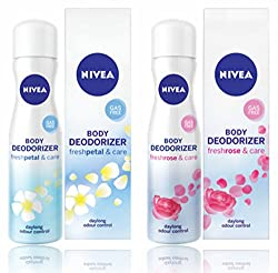 Nivea Body Deodorizer Fresh Petal,Fresh Rose Care Gas Free Spray for Women, 120ml,pack of 2