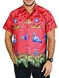 La Leela flamingo manches courtes aloha détendu bouton hawaïen à manches courtes en forme chemise pour les hommes xs rouges vers le bas - 5xl