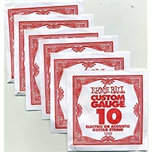 6 X Ernie Ball Single 0.10 Guitar Strings