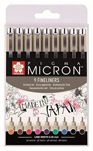 Sakura Pigma Micron Portamina - Conjunto De 9 Colores