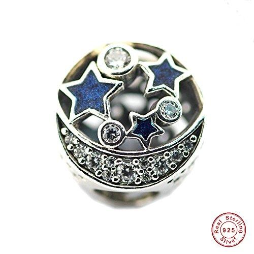 MOCCI Christmas Beads passt Pandora Charms Armbänder Vintage Night Sky schimmernden Mitternachtsblau Emaille & Clear CZ Charm Perlen für Schmuck machen