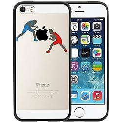 Funda iPhone SE, TrendyBox Transparente Negro Funda para iPhone 5 5S SE (Baloncesto)