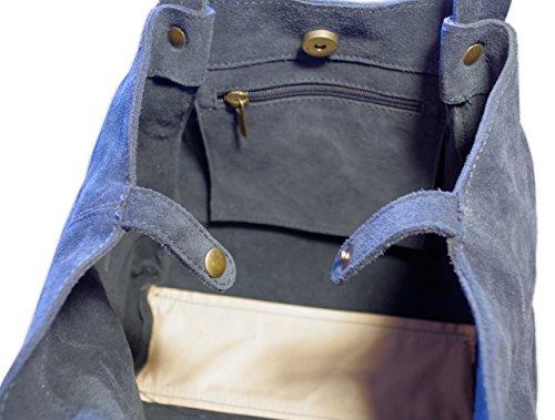 Posh Gear borsetta da donna Borsalinda al 100 % in pelle di camoscio Made in Italy 30x25x25 (L x L x A) blu