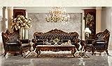Ma Xiaoying Echtes Leder, Massivholz Buche, Traditionelles Wohnzimmer Möbel Set (Sofa, Liebesschaukel und Stuhl und 2tables), Dunkelbraun by