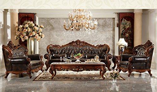 Ma Xiaoying Echtes Leder, Massivholz Buche, Traditionelles Wohnzimmer Möbel Set (Sofa, Liebesschaukel und Stuhl und 2tables), Dunkelbraun by -
