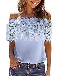 3b2500721e99 Damen Bluse, GJKK Reizvoller Damen Sommer Bluse Casual Weg von der Schulter  Kurzarmshirt Patchwork…