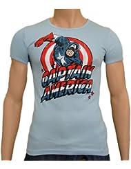 Captain America Logoshirt Vintage SLIMFIT T-Shirt Skyblue, S
