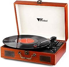 Idea Regalo - Giradischi, Amzdeal Giradischi, lettore portatile in vinile a 3 velocità con 2 altoparlanti, il supporto per la connessione Bluetooth, con RCA e cricci di cuffie, stile vintage, venatura del legno