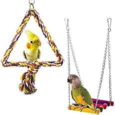 Vogelschaukel – Holzspielzeug Vogelkäfig Hängematte Schaukel Hängematte Spielzeug für Papageien Spielzeug Vogel hängend Spielzeug Vogel Schaukel Vogel Kauspielzeug