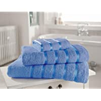 4 PC Kensington Egyptian Cotton Satin Stripe Towel Bale, Blue 2 Hand Towel 2 Bath Towel - Linenstowels2011