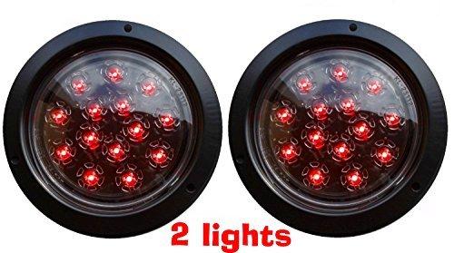 Set von 2autosmart Flush Mount dw-25105C-r rund LED STOP Tail klar Lens Lichter für Truck Trailer rot (Trailer Tail Lense Light)