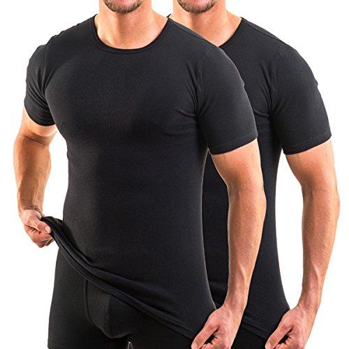 HERMKO 3840 2er Pack kurzarm Shirt (Weitere Farben), Farbe:schwarz, Größe:D 6 = EU L (Kurzarm-unterhemd)