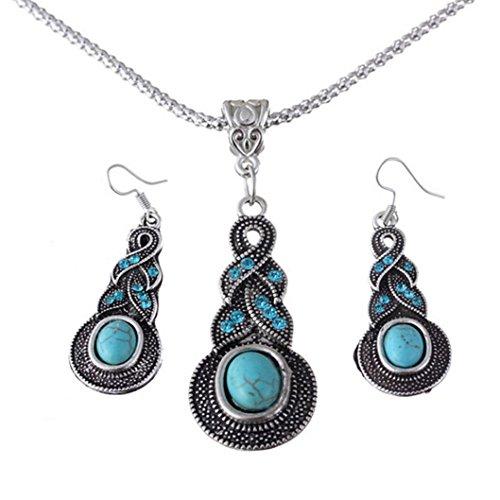 SMARTLADY Plata tibetana de la turquesa Encanto cristalino de la mariposa del corazón pendientes del collar para la Mujer