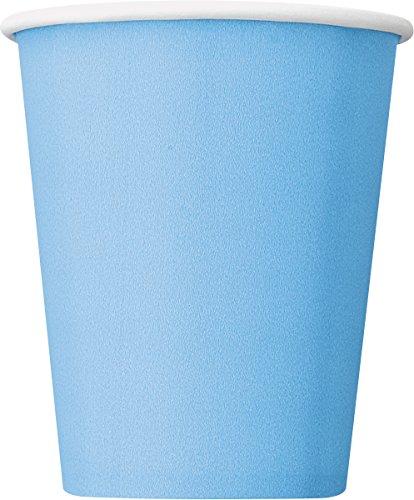 Unique Party- Paquete de 14 vasos de papel, Color azul claro, 266 ml (30903)
