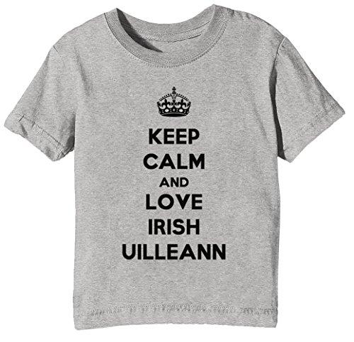 Keep Calm and Love Irish Uilleann Kinder Unisex Jungen Mädchen T-Shirt Rundhals Grau Kurzarm Größe XS Kids Boys Girls Grey X-Small Size XS (Boys-t-shirts Love Irish)