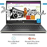 HP Pavilion x360 Convertible 14-cd0078TU 14-inch FHD Slim Laptop with Pen (8th Gen Intel Core i3-8130U/256 GB SSD/4GB RAM/Windows 10 Home/Microsoft Office Home and Student 2016/Integrated Graphics), Pale Gold