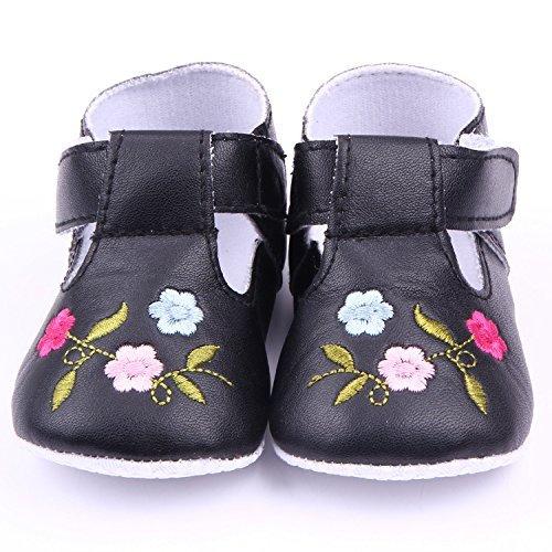 Yue Lian Baby Mädchen PU-Leder Babyschuhe mit Blumen Stickerei Kleinkind Taufschuhe Schwarz
