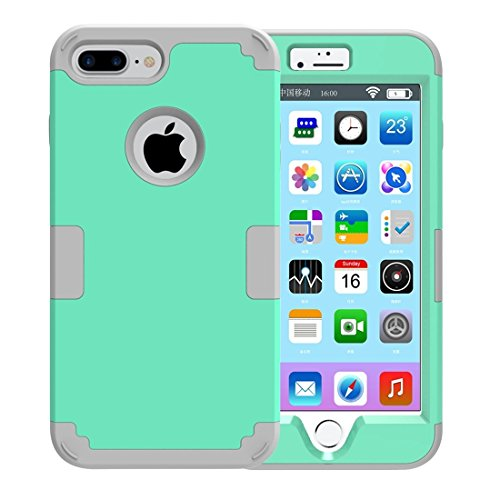 iPhone Case Cover Pour iPhone 7 Plus Séparable couleur de contraste PC + Silicone Combination Case ( Color : Purple ) Green