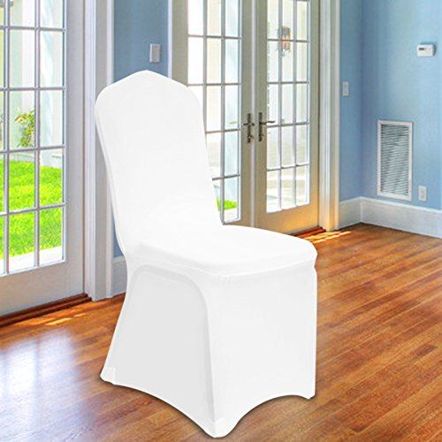 ' High Quality 200 GSM ' Chair Covers Spandex Lycra Universal Slipcovers Dining Chair Cover Wedding Banquet Party Flat Front - White