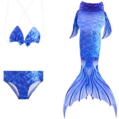 Starjerny 3PS Mädchen Meerjungfrauen Bikini Set Schwimmanzug Badeanzüge Bademode Prinzessin Kostüm Meerjungfrauenschwanz für Schwimmen Kinder 5-14 Jahre Farbewahl (130cm (9-10 Jahre), Bra-Style-3)