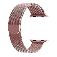Apple Watch için Rose Gold 38 MM Mıknatıslı Kayış Kordon Milanese Loop Markacase