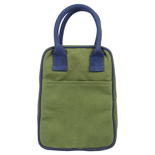 e602e513aabc Eono Lunch Tote Bag - Reusable 100% Cotton Canvas - Insulated, Cooler,  Washable with Zipper for Men, Women, Adults, Kids (Dark Green) - 0706