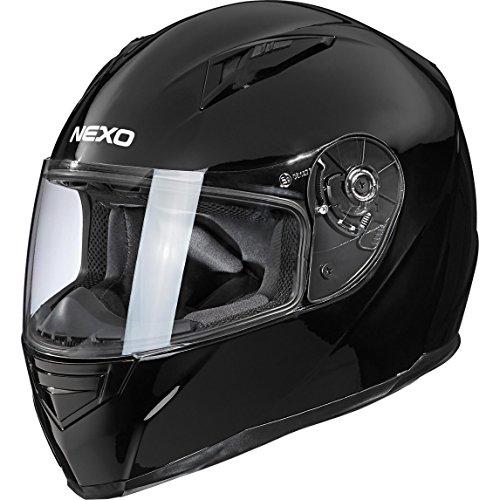 Nexo Motorradhelm, Vollvisierhelm, Integralhelm Basic II, herausnehmbares Komfortpolster, Be- und Entlüftung, Nasen-, Kinnwindabweiser, klares, kratzfestes Visier, Ratschenverschluss, Schwarz, XS