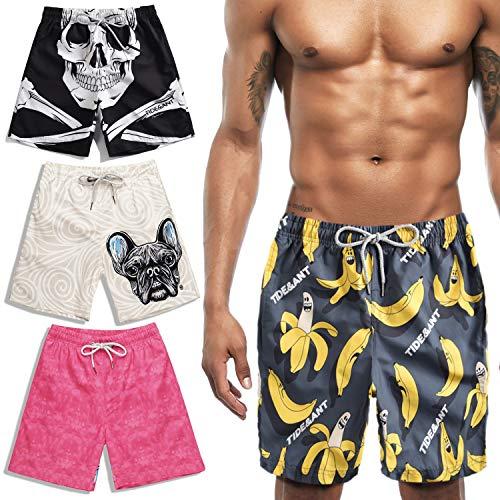 Haut Herren Boardshorts (HASAGEI Badehose für Herren Schnell Trocknend Badeshorts Männer 3D Druck Shorts Schwimmhose Jungen Boardshorts Sport Shorts Surf Beachshorts (XXXL, Banane))