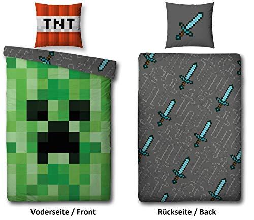 Familando Wende Bettwäsche-Set Minecraft, 135x200cm + 80x80cm, 100{5e193d7789ddb4faee09efc4f472a8b96e5e3ad3be9c234cf776a09e0397a69b} Baumwolle, grün Motiv Craft Blöcke TNT und Spitzhacke