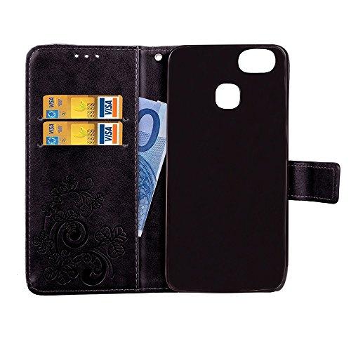 Double Magnetic Back Sucktion Retro Style PU Leder Flip Stand Case mit Kickstand und Wallet Beutel Funktion für Asus Zenfone 3 Zoom ZE553KL ( Color : Brown ) Black