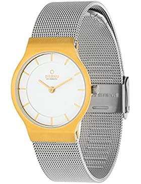 Obaku Slim Line Damen Armbanduhr bicolor Milaneise V133LXGIMC 1