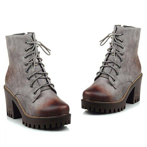 COOLCEPT Damen Freizeit Punk Boots Klassische Combat Blockabsatz Stiefeletten Grau