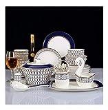 MYJ Juego de Cubiertos de Porcelana, Vajilla, Vajilla de Porcelana, Vajilla para Platos, Vajilla de Hotel,Azul,60 Cabeza