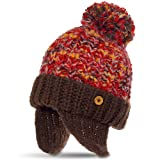 CASPAR Damen Winter Beanie Mütze/Strickmütze mit Ohrenklappen und grossem Bommel - beige/rot, Farbe:braun