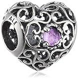 Pandora Damen-Charm Februar Herz 925 Silber Amethyst lila - 791784SAM