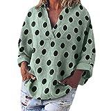 Zegeey Damen Oberteil T-Shirt große größen Halbe Ärmel V-Ausschnitt solide aushöhlen Böhmen Lässige Lose Pullover Bluse Tops Hemd Tunika(S5-Grün,EU-40/CN-L