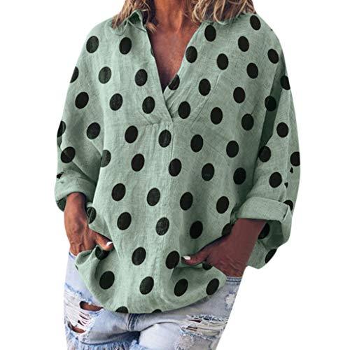 Streetwear Einfarbig Rundausschnitt Leinen Frauen Freizeit Bluse Sommer Freizeithemd(Z2-Grün,EU-46/CN-3XL) ()