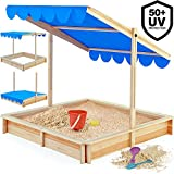 Deuba Sandkasten Spielhaus Holz Sandbox Sandkiste Kinder 140x140cm mit höhenverstellbarem und neigbarem Sonnendach UV Schutz >50