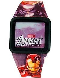 De los muchachos de Los Vengadores de LED de la pantalla táctil de colores de la correa de caucho reloj AVG3522