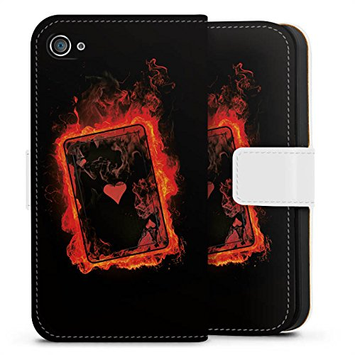 Apple iPhone X Silikon Hülle Case Schutzhülle Herz Ass Karten Sideflip Tasche weiß