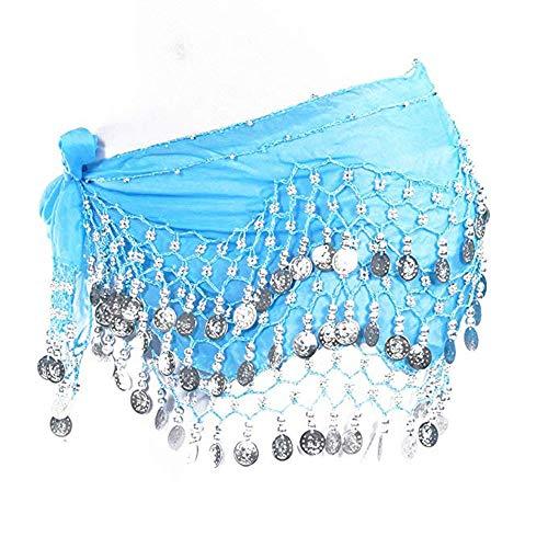 Lonshell Hüft-Tuch für Bauchtanz Münzgürtel Kostüm Hüfttuch Chiffon Rock Wrap Taille Gürtel Strandtuch Wickelbund Kurz Minirock Belly Dance (Spanisch Jazz Kostüm)